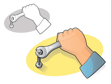 Illustration of a hand using an open end wrench to tighten a nut