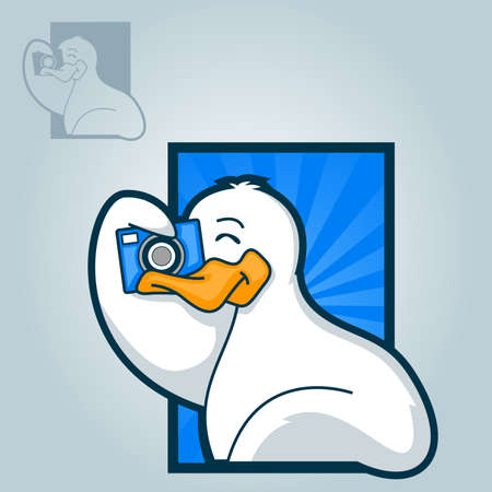 Illustration of a white duck using a camera to take a picture 向量圖像