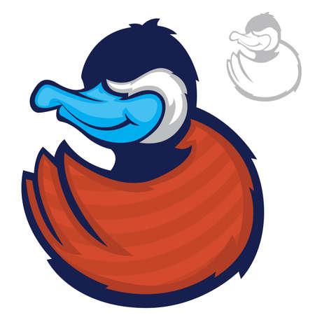mallard duck: Illustration of a blue billed duck character Illustration
