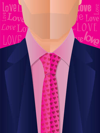 dressy: Illustration of a business man wearing a tie with a heart pattern