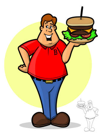 Cartoon illustration of a happy man holding a giant cheeseburger Vector