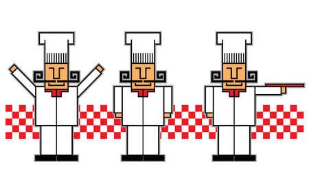 8 bit illustration of an italian cook