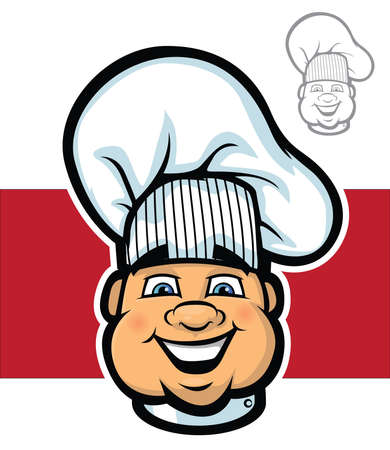Illustration of a cartoon chef mascot face