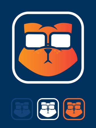 geeky: Orange cat wearing glasses icon