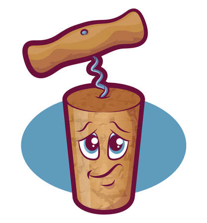 cork screw: Cartoon cork mascot with corkscrew Illustration