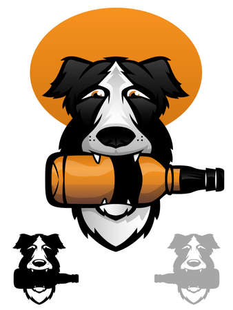 brandy: Border Collie with a whiskey bottle in his mouth