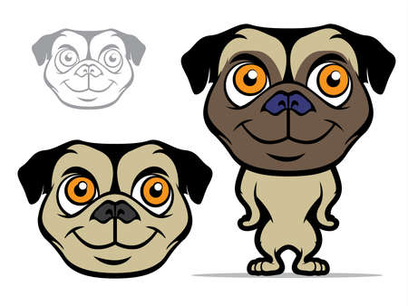 dog breeds: Illustration of a pug puppy in various styles
