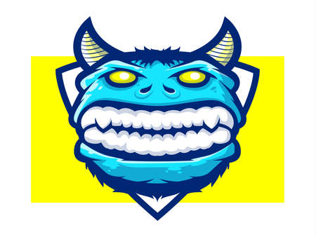 Monster mascot with shield background