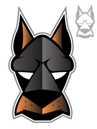 Illustration of a doberman or hound dog face Illustration