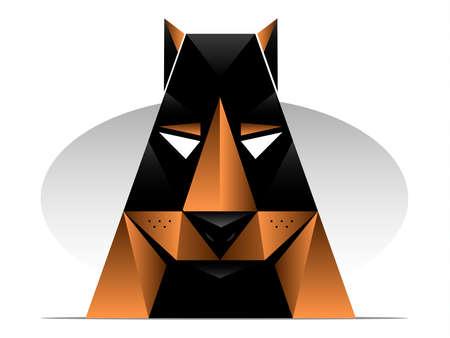 head set: doberman or rottweiler styled dog illustration Illustration