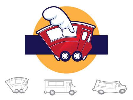 Collectie van verschillende voedsel truck pictogrammen