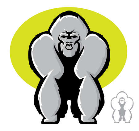 Illustration of a large gorilla standing in front view Illustration