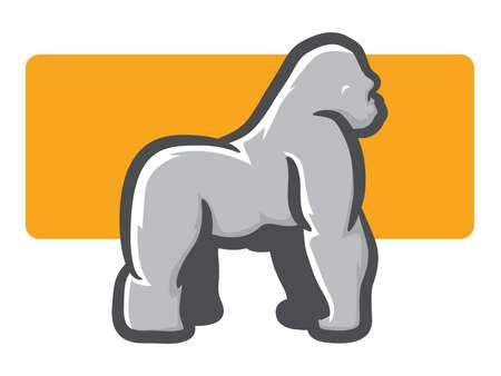 rey caricatura: Ilustración de un gorila espalda plateada en la vista lateral