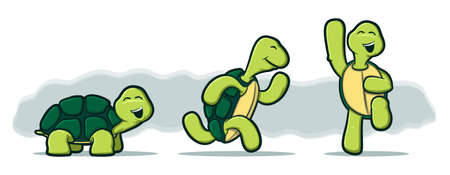 character traits: Illustration of three tortoises running and jumping with smiles