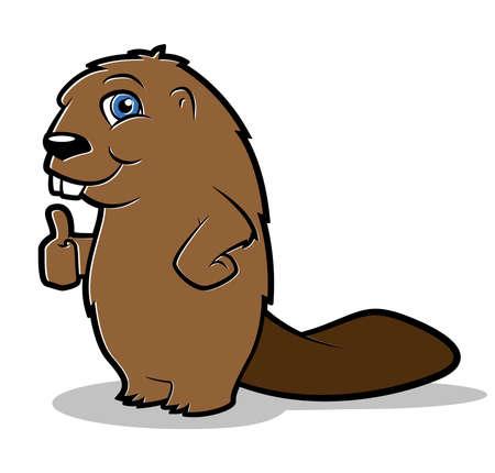 Cartoon beaver making a thumbs up gesture Vector