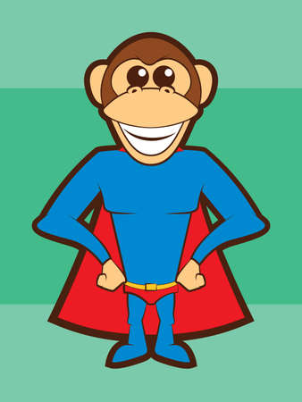 Cartoon Chimpanzee Super Hero Vector