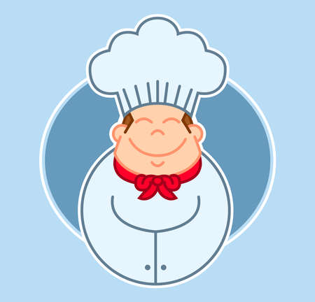 Illustration of a happy chef or baker icon