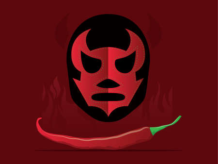 Mexican themed background including peppers and lucha libre mask