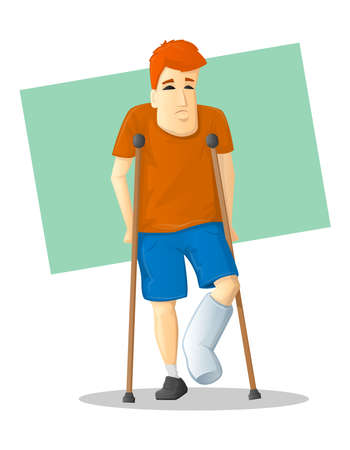 Cartoon man with bandaged foot walking on crutches