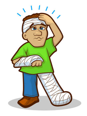 injured person: Illustration of a man with head and limb bandages