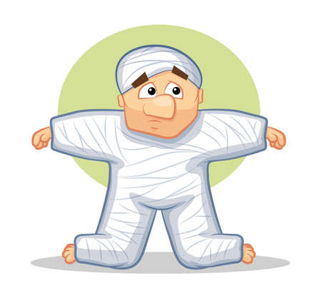 injured person: Injured Cartoon Man wearing a cast on his body Illustration