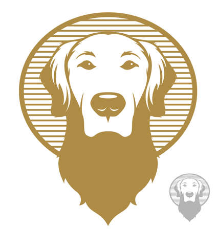 Vintage styled illustration of a golden retriever dog.