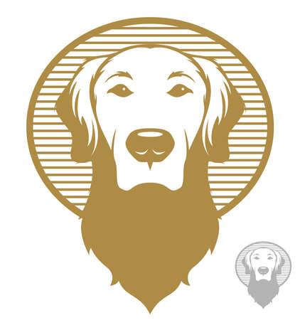 Vintage styled illustration of a golden retriever dog.