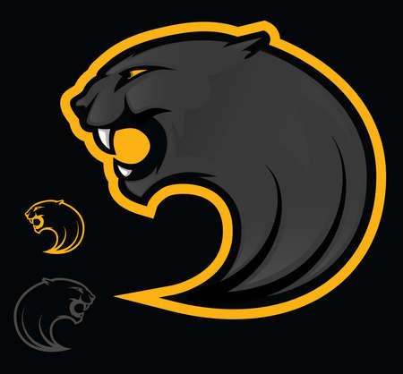 black leopard: Illustration of an angry black panther Illustration