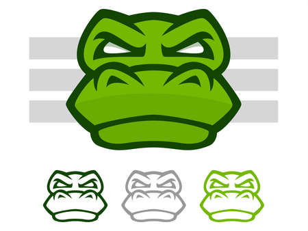 Illustration of a mean looking crocodile or alligator face icon