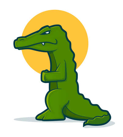 Green cartoon gator standing up Vector