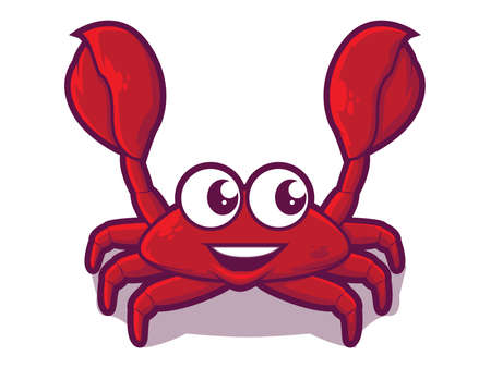 Illustration of a happy red crab with crab claws