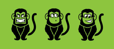 Monkey illustrations with various facial expressions Vector