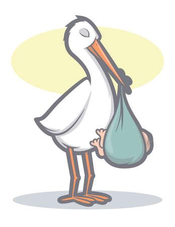 Illustration of a stork bird holding a baby Ilustração