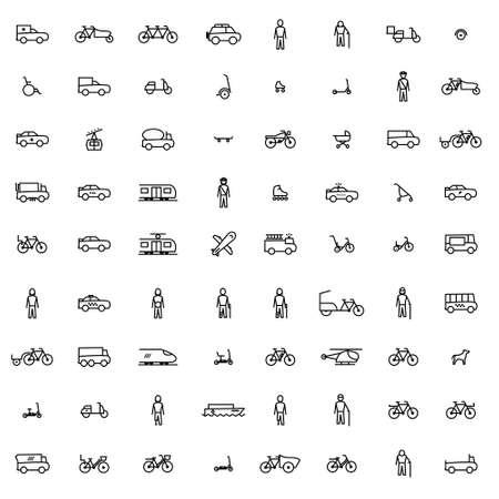 Mobilité urbaine - ensemble de 72 icônes