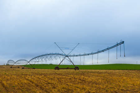 pivot: Thee quarter view of four span center pivot irrigation system in brown field, and green field behind