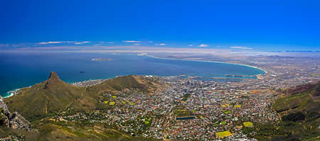 robben island: Panoramic View of Cape Town from Table Mountain