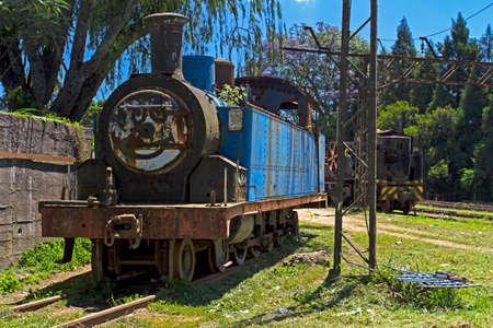 Blue shunting steam locomotive abandoned Stock Photo