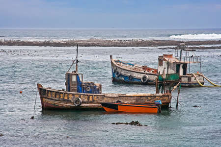 Two derelict boats previously used to sea mine diamonds from the sea off the west coast of South Africa near Port Nolloth
