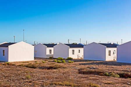 Goedkope RDP-huisvesting, Zuid-Afrika Stockfoto