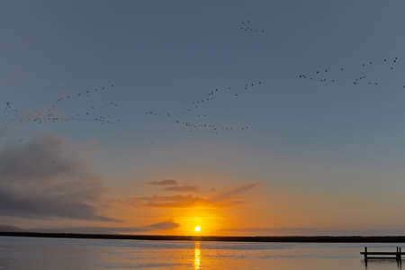 Sunset across the Berg River with birds flying, some cloud and a jetty on the right, Western Cape, South Africa