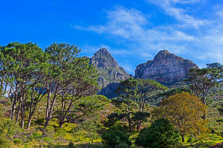 Imposing Devils Peak mountain, Cape Town, South Africa Stock Photo
