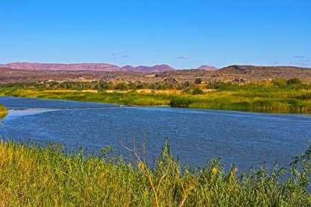 Weir across Orange River in Northern Cape near Vioolsdrif, South Africa