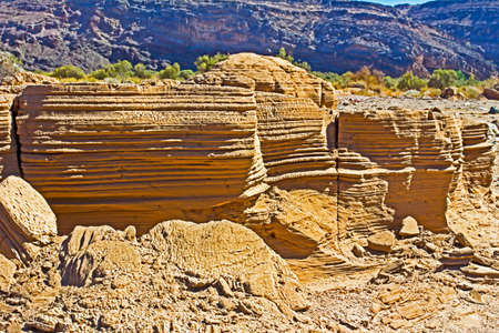 Wind sculptured sandy bank on Orange River flood plain in arid region of Northern Cape, South Africa