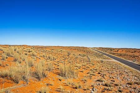 Red sand dunes and road in Kalahari Reklamní fotografie