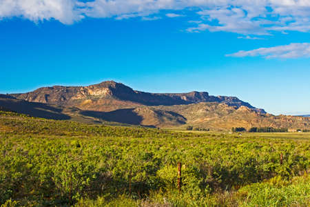 Green landscape of Gifberg mountains and clouds in springtime, Western Cape, South Africa Banco de Imagens