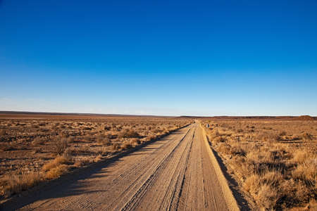 Straight gravel road running through drought-stricken Karoo region of Northern Cape, South Africa Фото со стока