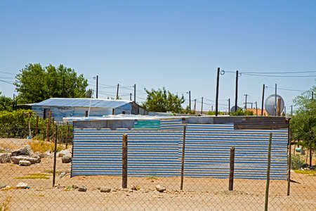 Primitive shack made from corrugated galvanized sheeting in Northern Cape, South Africa