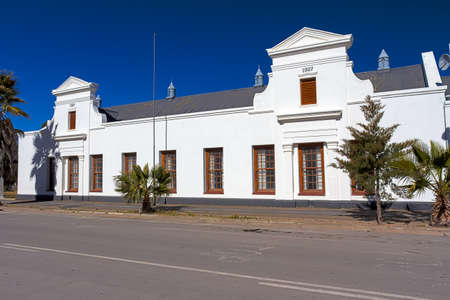 Old Cape Dutch building from 1927 in rural town of Fraserburg, Northern Cape, South Africa
