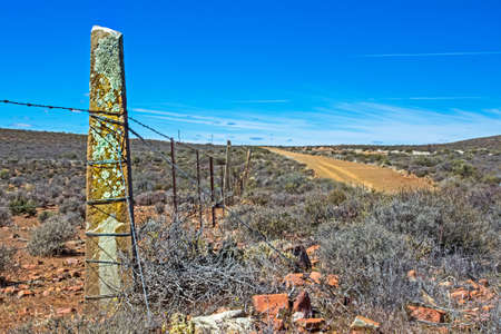 Very old stone corner fence pillar in Great Karoo, Northern Cape, South Africa