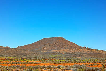 Flat topped hill in Great Karoo in spring